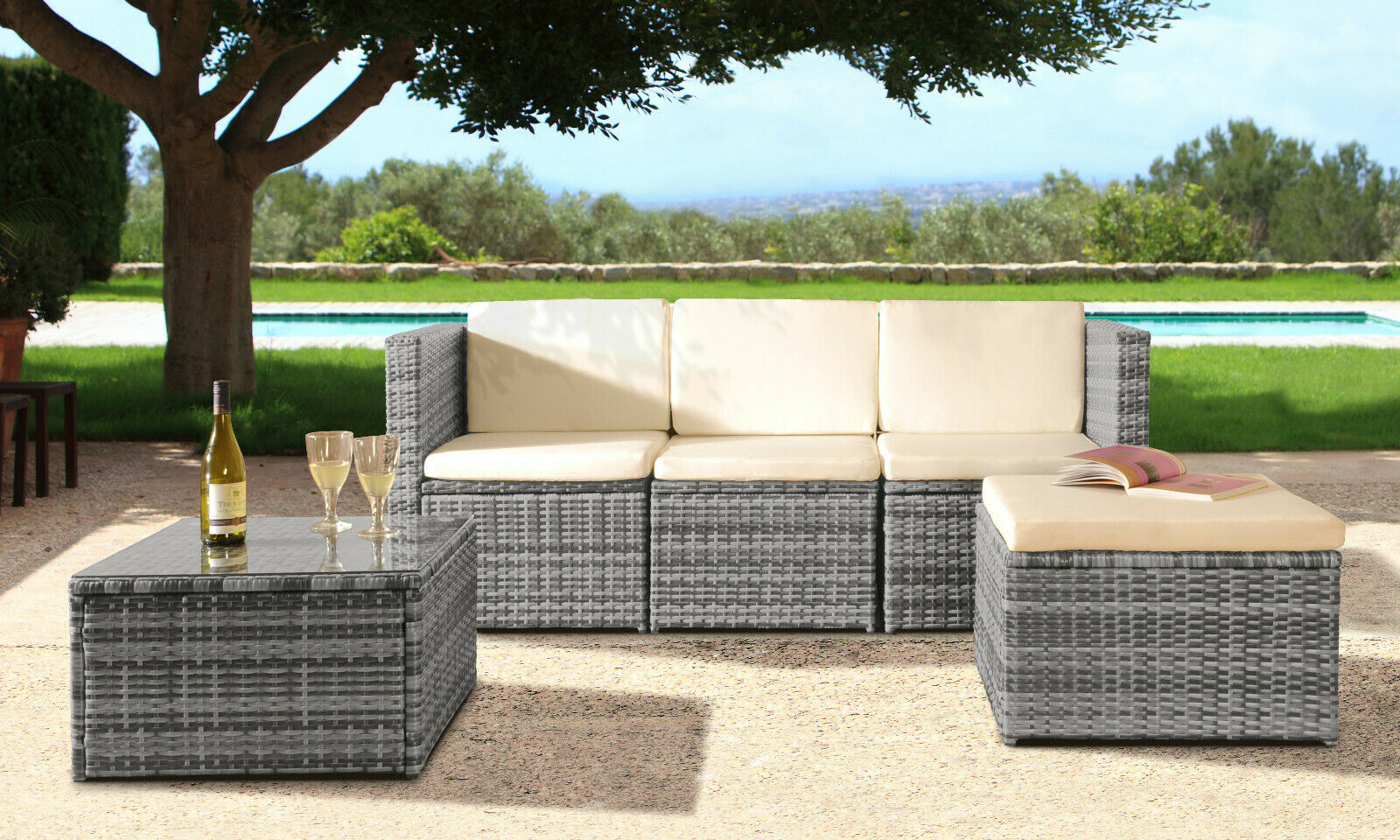 Garden Furniture - 3PC Rattan Garden Patio Furniture Outdoor Set - Sofa, Footstool & Coffee Table
