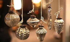 Set of 6 Mercury Glass Baubles, distressed vintage hanging decorations
