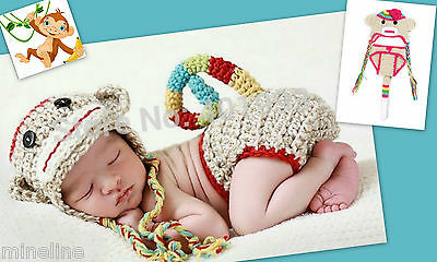 ★★★ NEU Baby Fotoshooting Kostüm Kleiner Affe beige bunt 2Tlg. 0-6 Monate ★★★X