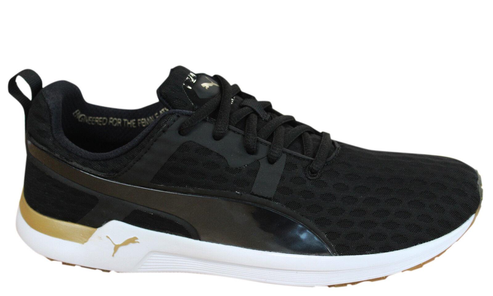 b1f2fc6b44b6 Puma Pulse XT v2 Black Gold Womens Lace Up Textile Trainers 188971 ...