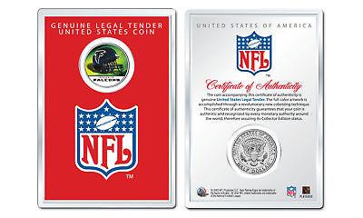 ATLANTA FALCONS NFL Helmet JFK Half Dollar US Coin w/ NFL Display Case (Atlanta Falcons Helmet Display Case)