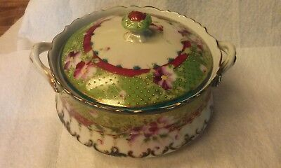 """1890""""s Antique Nippon Roses and Gold Moriage Biscuit Jar"""