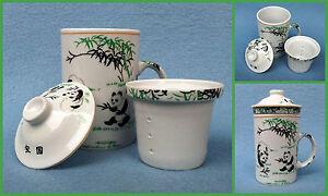 Teetasse Teebecher mit Deckel   Teesieb   Motiv Pandabär   China Tasse   300ml.