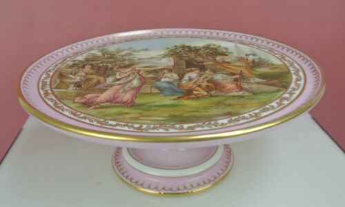 Vintage TK Czechoslovakia Royal Vienna ? Style Porcelain Cake Stand