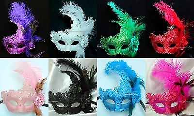 Mardi Gras Costumes (Masquerade Lace feather mask Mardi Gras Carnival Costume Birthday Party)