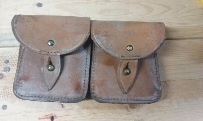 French Military Mas Leather Ammunition Pouch 2 magazine capacity  #G1