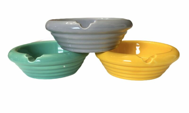 3 Vintage Colorful Ashtray Pottery Grey Yellow Green Concentric Rings Individual
