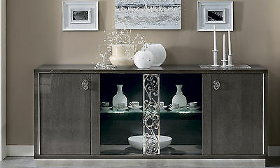 Moderne Holz Türen (Anrichte Sideboard Glas/Holztüren Glamour Silber Birke Hochglanz Stil Modern)