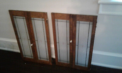 Beautiful Antique Vtg 2 Pairs Glass & Wood Cabinet Doors