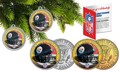 PITTSBURGH STEELERS Colorized JFK Half Dollar 2-Coin Set NFL Christmas Ornaments