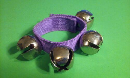 Animal Reindeer BELL Collar 4 Huge Loud Bells Purple Fabric Neck Collar