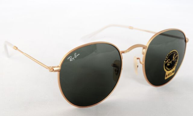 ray ban gold round g15 sunglasses  ray ban rb3447 001 gold/green g 15 round size 50mm