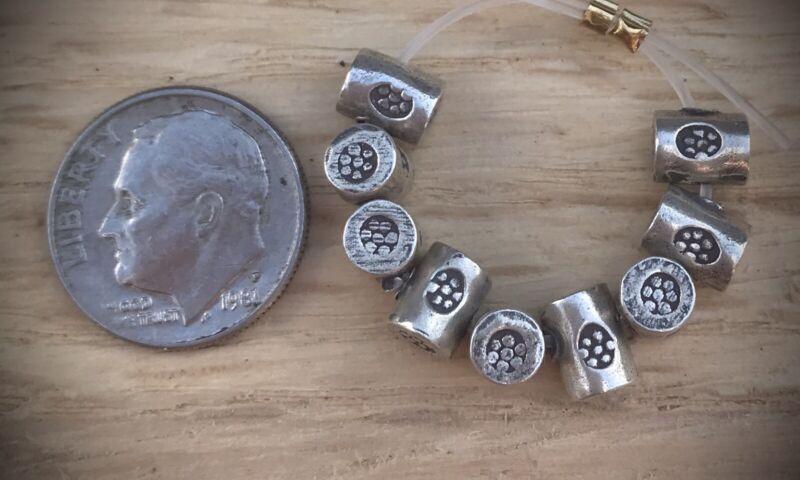 9 Hill Tribe Silver Daisy Log Beads