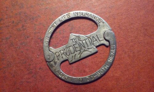 Old Prudential Low Cost Life Insurance Round Key Ring Clever Design Advertising