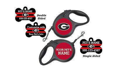 Georgia Bulldogs Pet Id Dog Tag & Retractable Leash Personalized for Your Pet Georgia Dog Leash