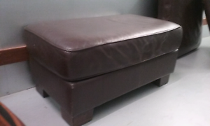 Chocolate leather lounge 3 seater + 2 seater + large ottomon Currumbin Gold Coast South Preview