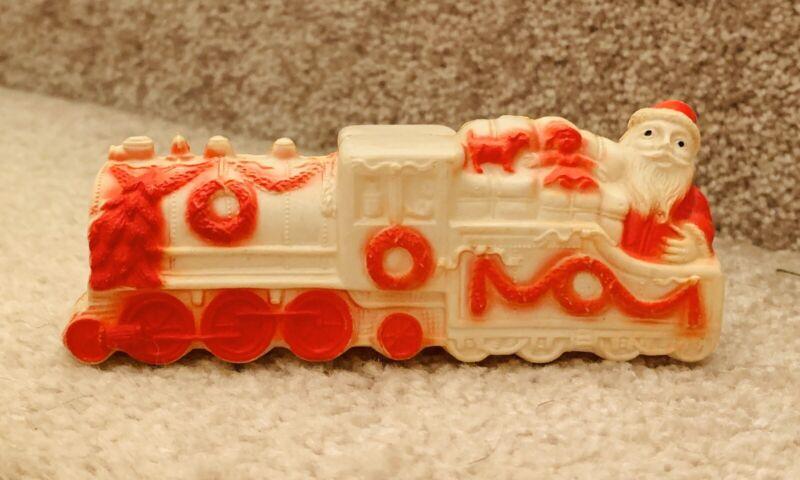 Vintage Christmas CELLULOID SANTA CLAUS TRAIN Locomotive Railroad Toys Presents