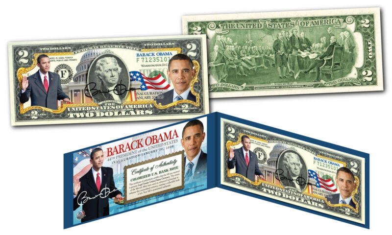 BARACK OBAMA Official *44th President* Genuine Legal Tender US $2 Bill w/ Folio