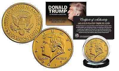 2017 DONALD TRUMP OFFICIAL Presidential 24K Gold Plated Tribute Coin with COA