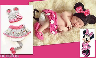 ★★★NEU Baby Fotoshooting Kostüm 3Tlg. Minnie Maus 0-6 - Rosa Minnie Baby Kostüme