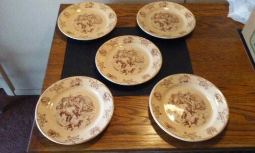 """SHENANGO CHINA ROUND UP PLATE 9"""" WESTERN COWBOY COWGIRL HORSE RANCH RODEO BRAND"""
