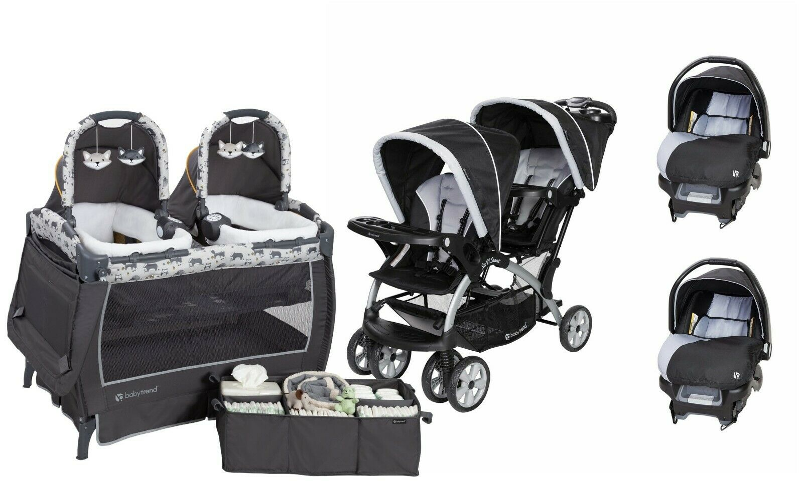Double Baby Stroller with Baby Trend Infant Car Seat Twins P
