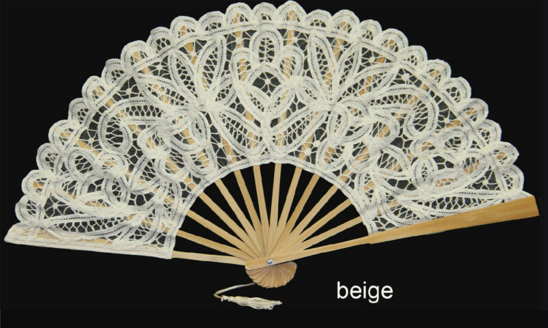 Beige Victorian Battenburg Lace Wedding Bridal FAN Party Supply Creative Linens