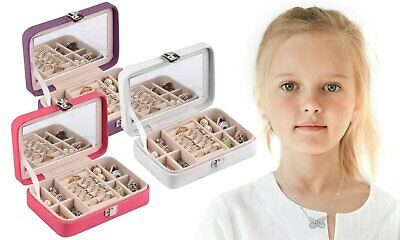 Kids' Jewelry Box With Built-In Mirror & Removable Sectionals, Great for Travel Jewelry & Watches