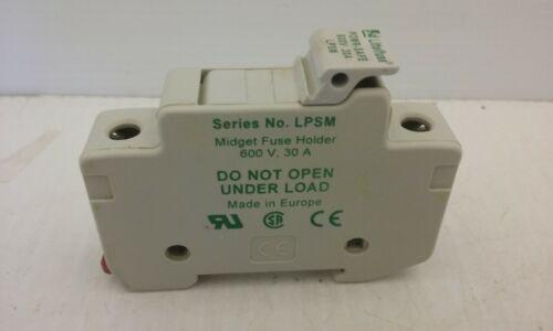 LITTLEFUSE LPSM POWER SAFE  MIDGET FUSE HOLDER 1 POLE 30A 600V DIN MOUNT