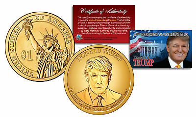Donald J Trump Official 45Th President Golden Hue Presidential Dollar  1 Us Coin