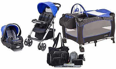Baby Stroller Car Seat Playard Nursery Travel System Diaper Bag with 8 Pieces