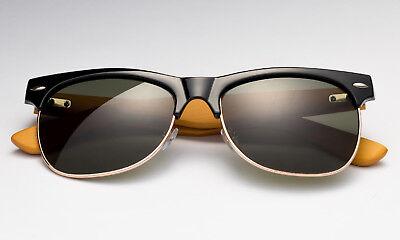 Sunglasses  Black Bamboo Frame Eyewear Classic Wooden Frame Casual Retro UV (Wooden Eyewear Frames)