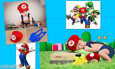 ★★★NEU Baby Fotoshooting Kostüm 2Tlg. Set Super Mario 0-6 Monate★★★Nr.I (Baby Super Mario Kostüme)