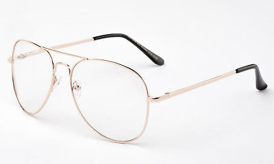 Retro Klarglas Brille Klassisch Aviator Vintage Gold Metallrahmen Brille