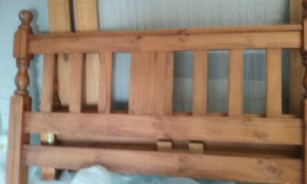 CHUNKY QUEEN TIMBER BED WITH PILLOWTOP MATTRESS, VGC.