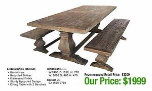 LINCOLN DINING SET ONE TABLE + TWO BENCHES Granville Parramatta Area Preview