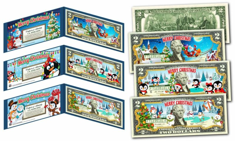 MERRY CHRISTMAS 2017 Colorized XMAS U.S. Legal Tender $2 Bills *(SET OF ALL 3)*