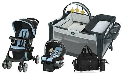 Graco Baby Stroller Travel System with Car Seat Playard Diaper Bag Combo New