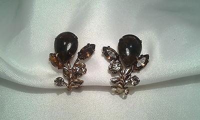 Vintage Gold Dark Brown Topaz Rhinestone Floral Clip on Earrings