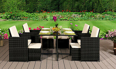 Garden Furniture - 9 11 13 PIECE RATTAN GARDEN CUBE SET CHAIRS SOFA TABLE OUTDOOR PATIO FURNITURE
