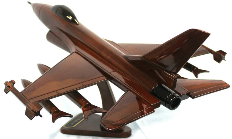 F16 Falcon Wooden Model Airplane Mahogany-W- Personalized Plaque