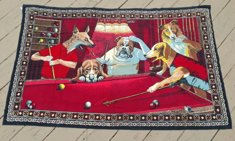 Vintage Rare Dogs Playing Pool Hanging Wall Tapestry Decor Bar Billiards 52x33