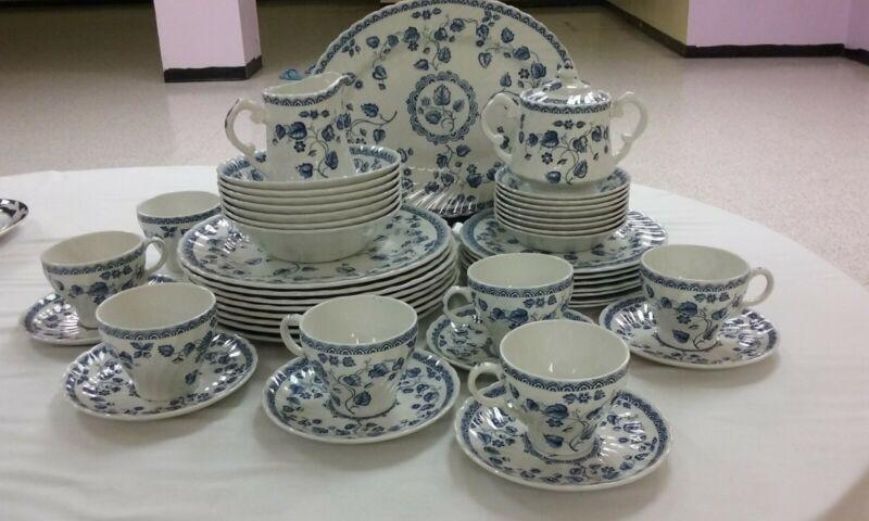 "RARE Vtg. Wood And Sons ""Nantucket Blue"" Porcelain 48pc. Dinnerware Set for 7"