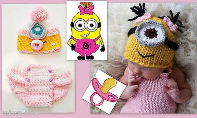 ★★★NEU Baby Fotoshooting Kostüm 2Tlg. Minions Mädchen Schnuller 0-6 - Baby Kostüm Minion