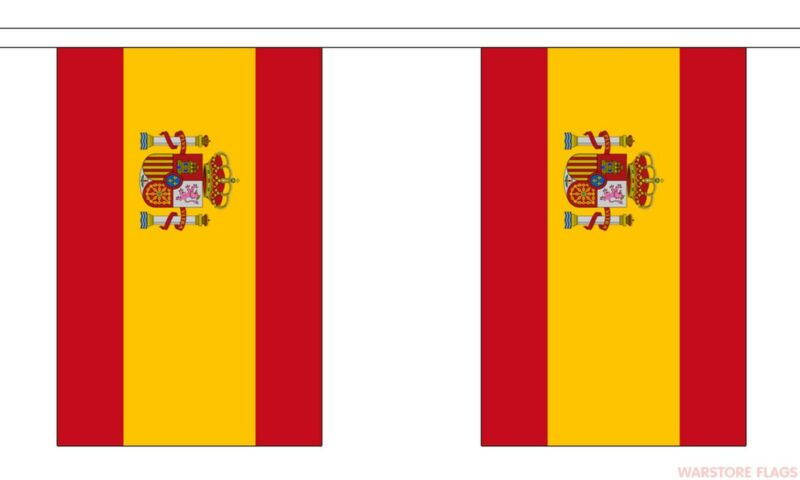 3M Spain National Flag Bunting With Crest 10 Flags Rugby Football Sports Events