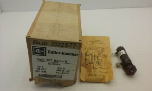 CUTLER HAMMER 125 EZC- R MINALITE INDICATING LIGHT RED 125V NIB