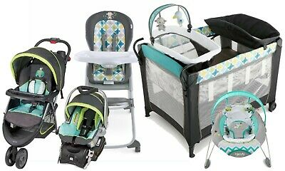 Baby Trend Stroller Car Seat Travel System with High Chair Auto Bouncer TS40947