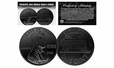 1943 TRIBUTE Steelie WWII PENNY Coin Clad in Genuine BLACK RUTHENIUM - Lot of 3