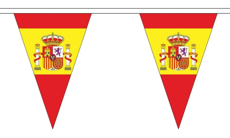 SPAIN WITH CREST 20 metre TRIANGLE BUNTING 30 FLAGS flag 54 FLAGS SPANISH
