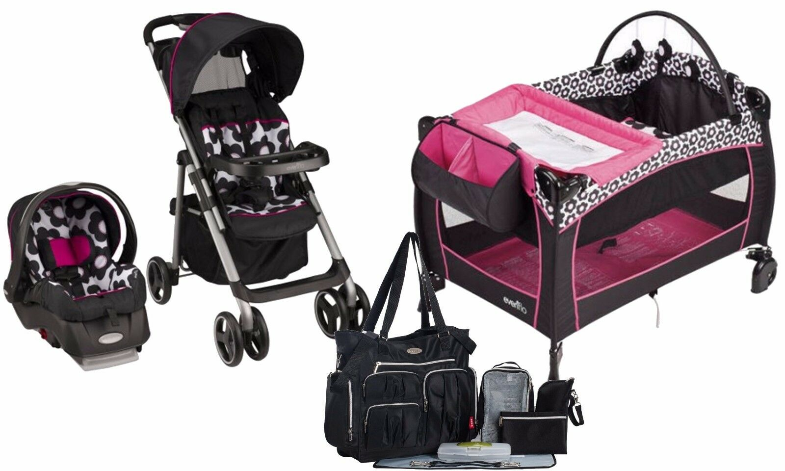 Baby Strollers And Car Seats: Baby Stroller Car Seat Travel System Diaper Bag Infant